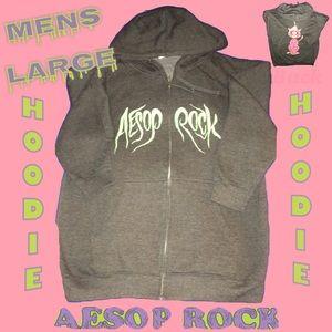 AESOP ROCK Men's Large Gray Full Zip Hoodie Cat